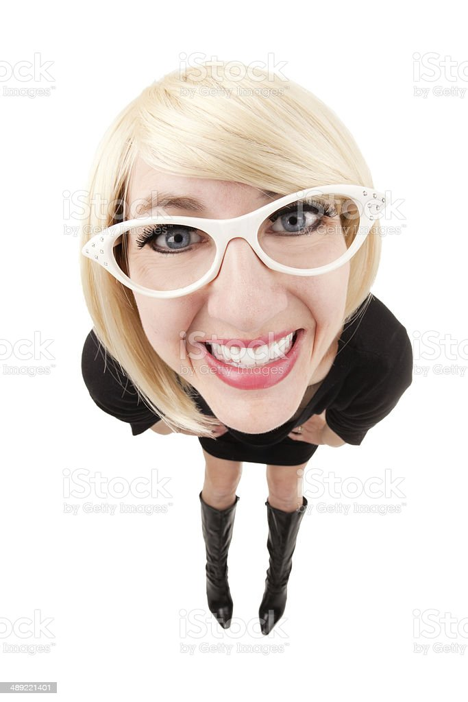 Fisheye Smiling Blond Woman stock photo