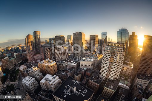 istock Fisheye view of Boston skyline 1125437160