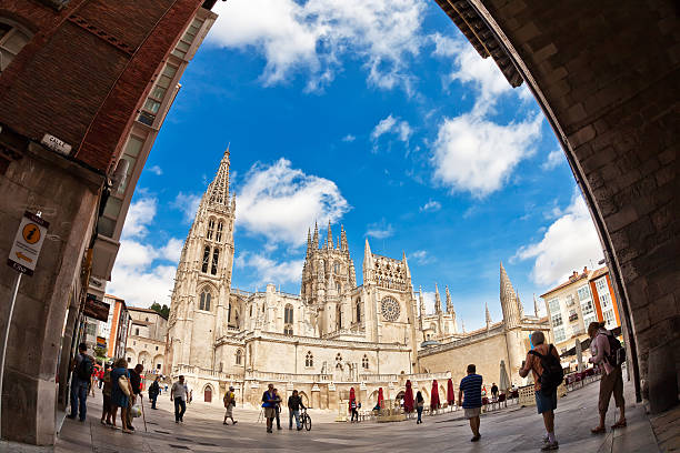 Fisheye view of cathedral in Burgos, Spain stock photo