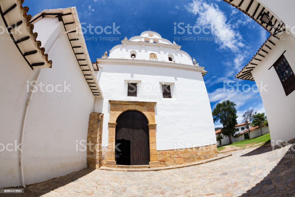 Fisheye view of Church and convent of San Francisco stock photo