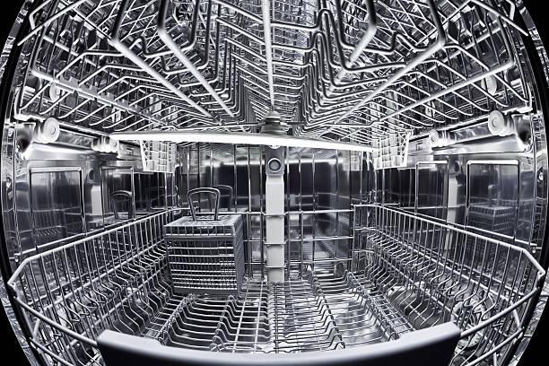 Fisheye view of dishwasher's interior stock photo