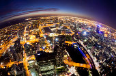 Melbourne at night, fisheye view