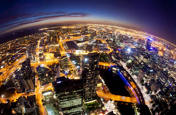 Fisheye view of Melbourne cityscape at night Melbourne at night, fisheye view fish eye lens stock pictures, royalty-free photos & images