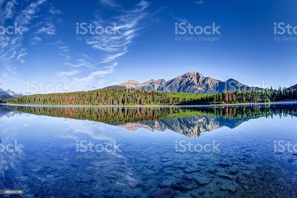 Fisheye View of Patricia Lake at Jasper National Park stock photo