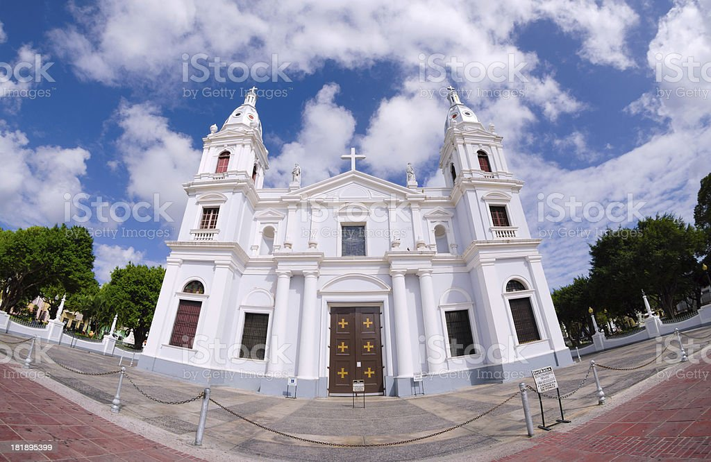 Fisheye view of Ponce Cathedral in Puerto Rico stock photo