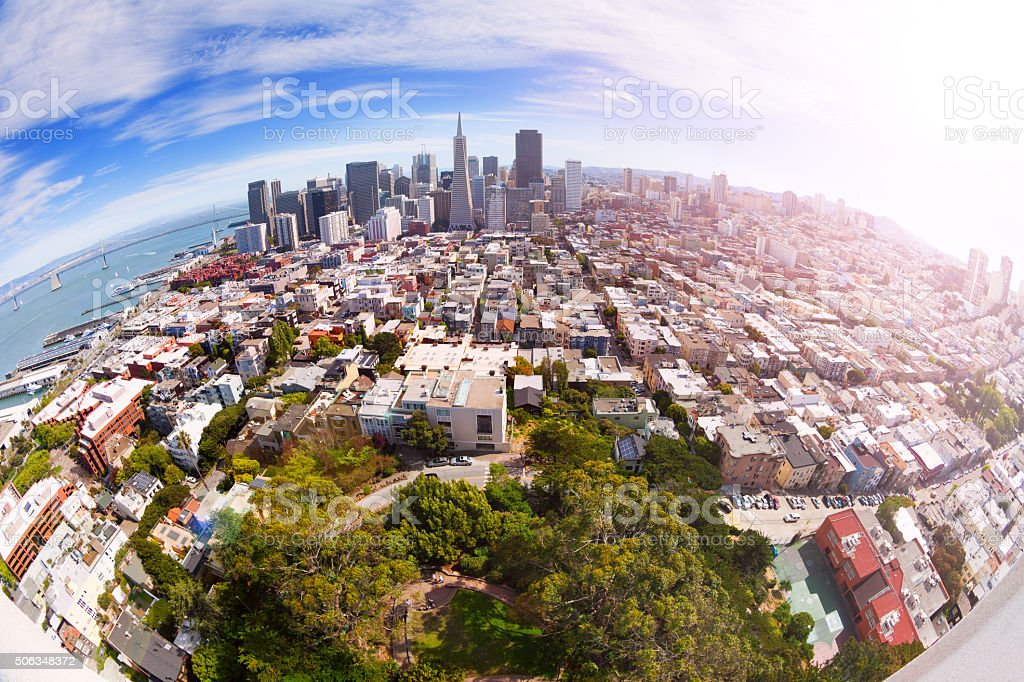 Fisheye view of San Francisco panorama from hill stock photo