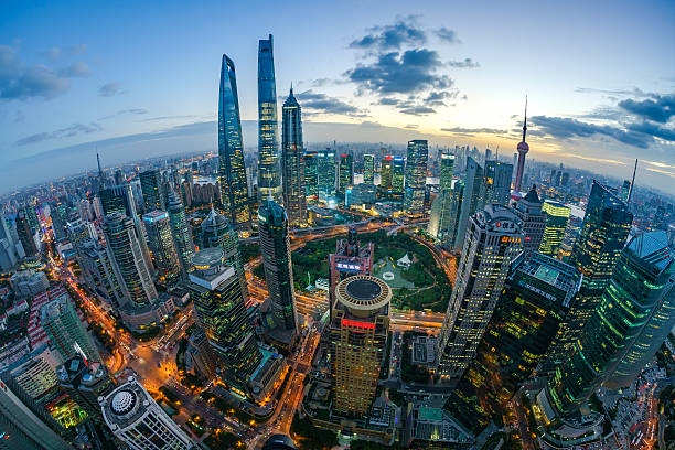 Fisheye view of Shanghai Skyline Sunset Fisheye view of Shanghai Skyline Sunset fish eye lens stock pictures, royalty-free photos & images