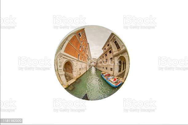 Fisheye View Of The Bridge Of Sighs On A Canal In Venice Stock Photo - Download Image Now