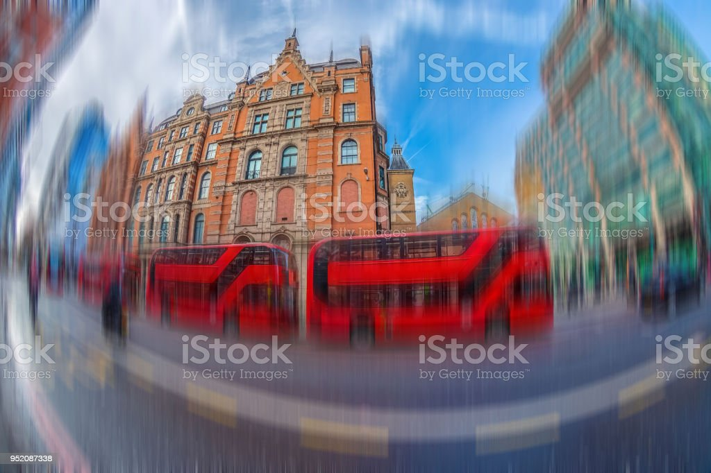 Fish-eye view with red double decker bus stock photo