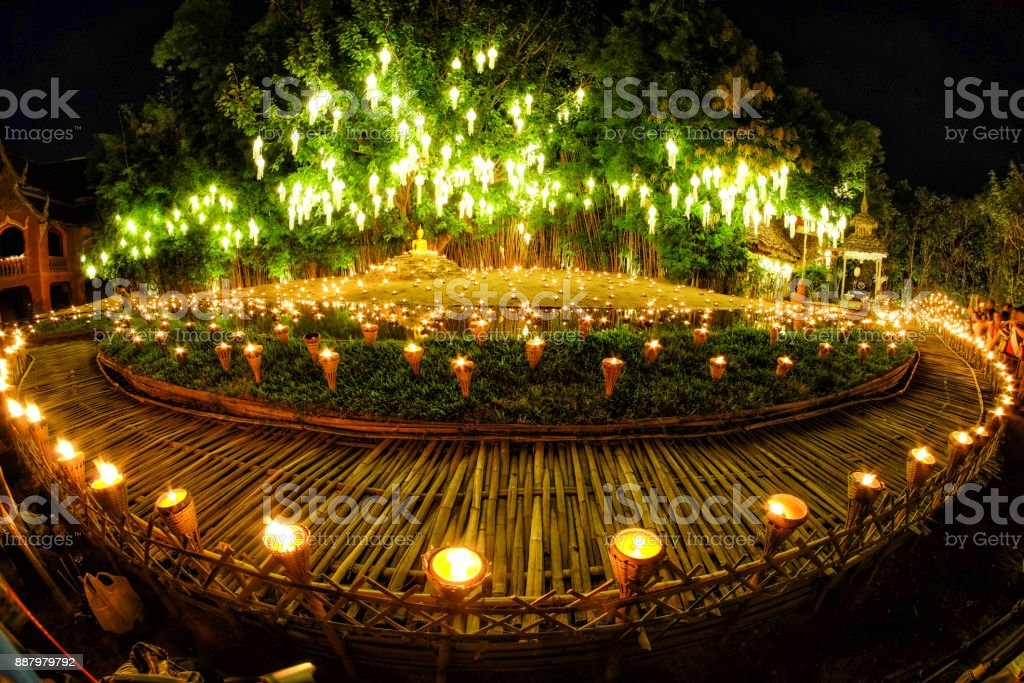 Fisheye view Yee Peng Lighting Loy Krathong in phan Tao temple, Chiangmai, Thailand stock photo