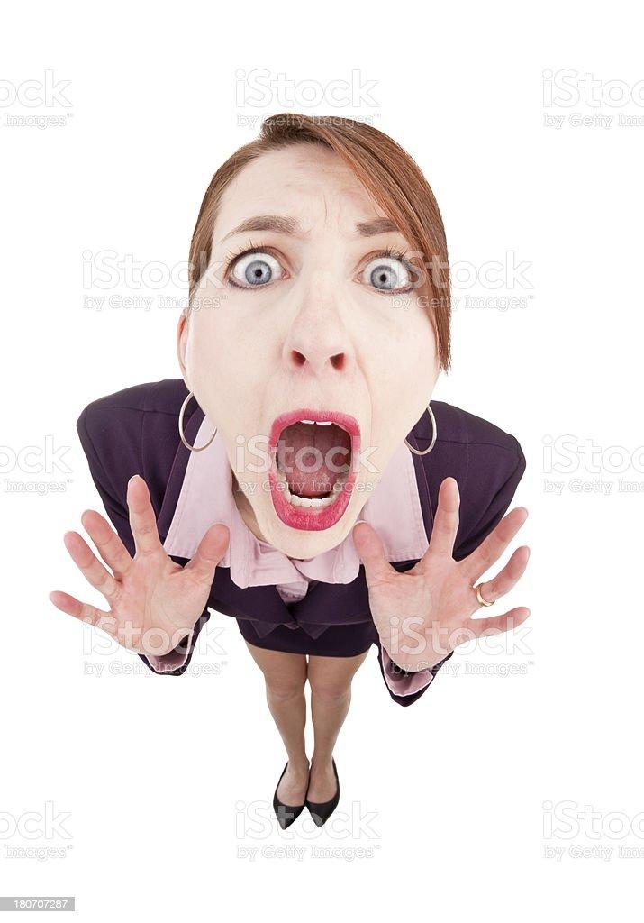 Fisheye Woman In Panic royalty-free stock photo