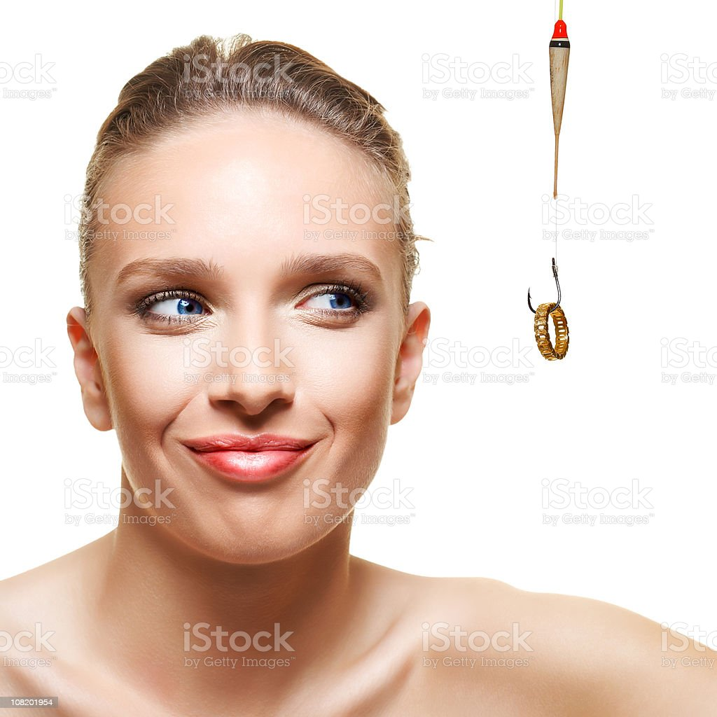 Fishing a woman royalty-free stock photo