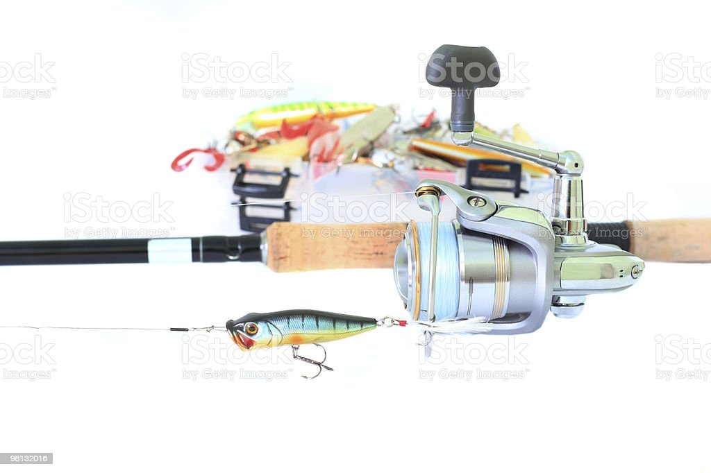 fishing accessories isolated royalty-free stock photo