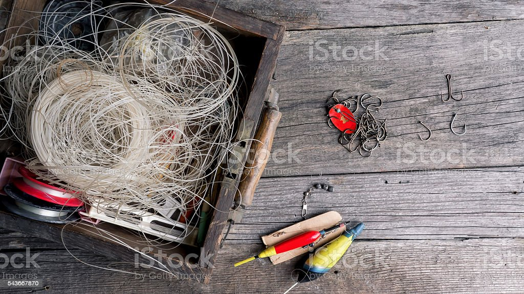Fishing accessories stock photo