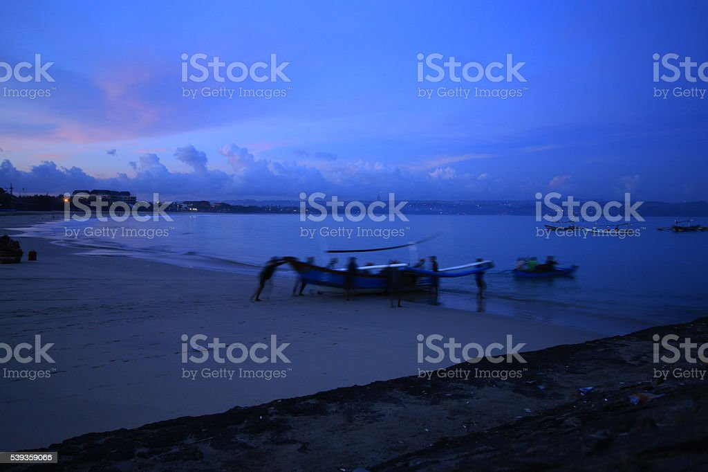 fishing activities in the morning. stock photo