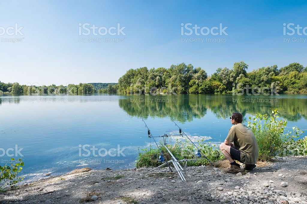Fishing adventures on a large river photo libre de droits