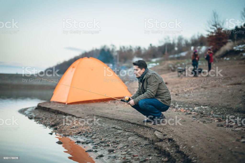 Fishing and camping stock photo