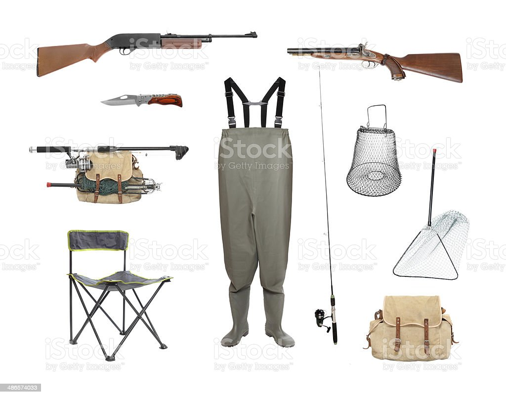 Fishing and hunting equipment. stock photo