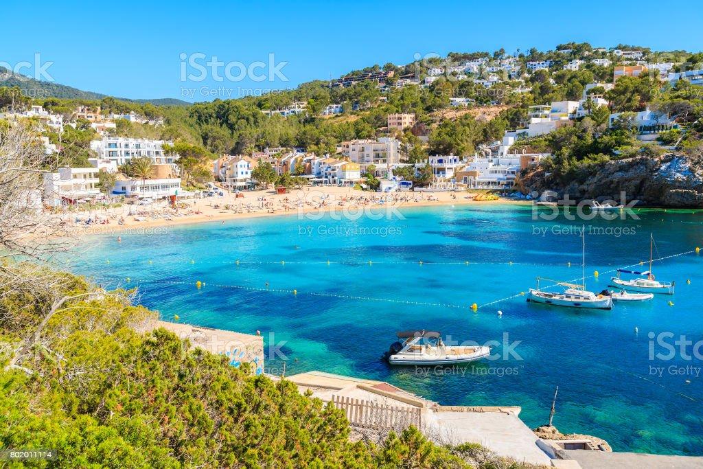 Fishing And Sailing Boats On Blue Sea Water In Cala Vadella