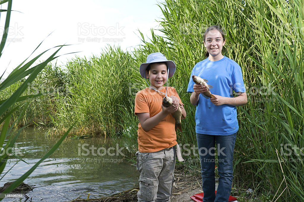 Fishing at lake stock photo