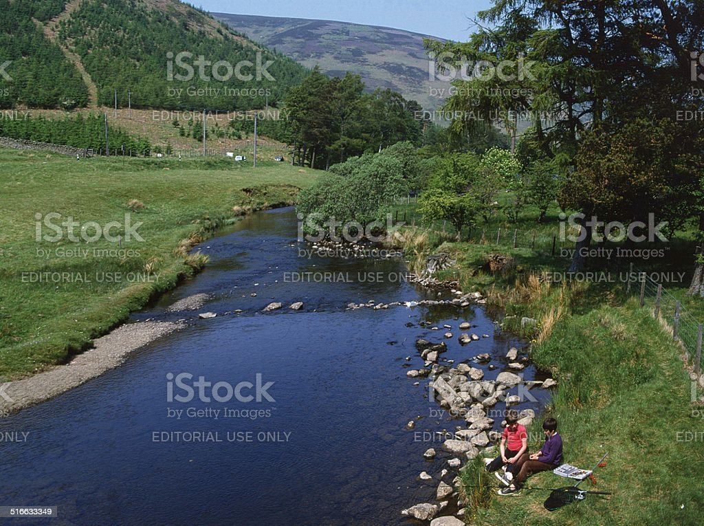 Fishing at St. Mary's Loch, Scottish Borders stock photo