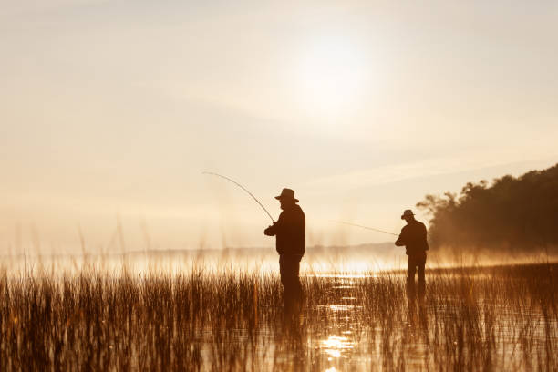 Fishing at sunrise stock photo