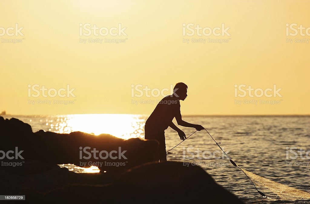 Fishing at Sunset in Vancouver stock photo
