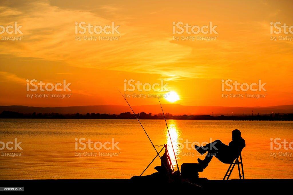 Sieć o zachodzie słońca zbiór zdjęć royalty-free
