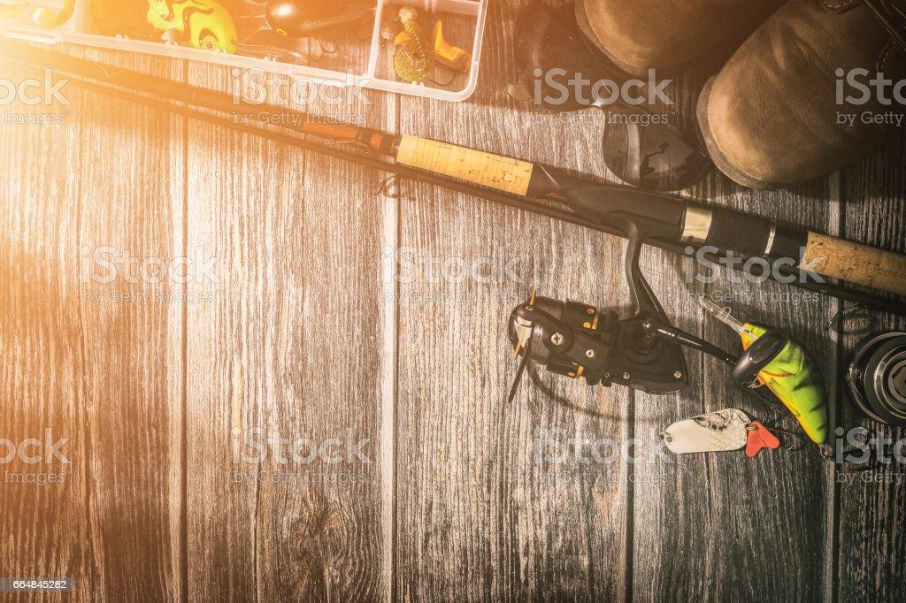 fishing background angler wobbler spinning bait concept stock photo