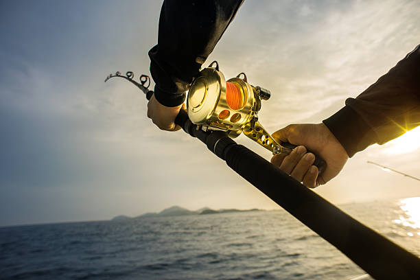 Fishing Background Fishing Background. fishing reel stock pictures, royalty-free photos & images