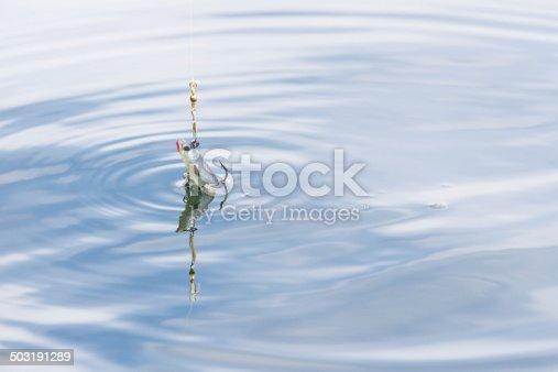istock Fishing bait, a wobbler, in blue water 503191289