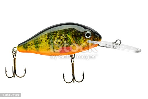 989682362 istock photo Fishing bait tackle and baubles for fishing on a white background, wobbler. 1180632486