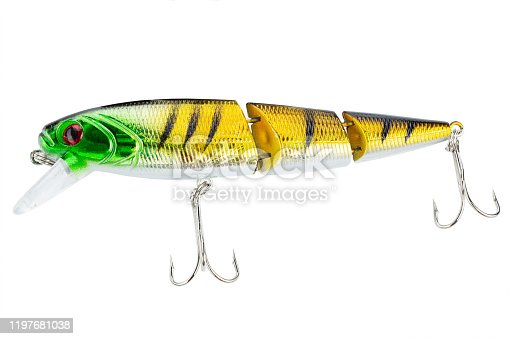 989682362 istock photo Fishing bait tackle and baubles for fishing on a white background, wobbler. 1197681038