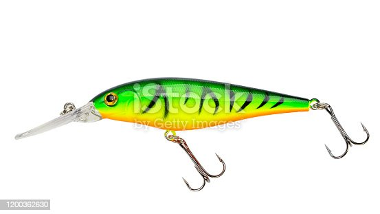 989682362 istock photo Fishing bait tackle and baubles for fishing on a white background, wobbler. 1200362630