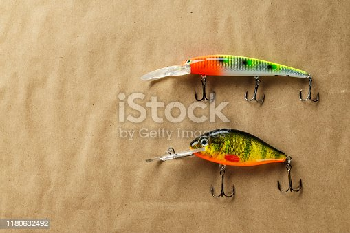 989682362 istock photo Fishing bait tackle and baubles for fishing , wobbler. 1180632492