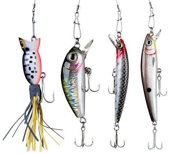 Fishing baits. Fishing baits isolated on white background. Set. fishing hook stock pictures, royalty-free photos & images