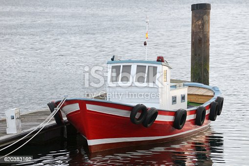 image of fishing boat anchored on the docks