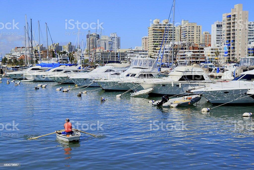 fishing boat and yachts in Punta del Este pier, Uruguay stock photo