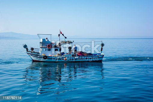 Fishing boat arrives at port after fishing