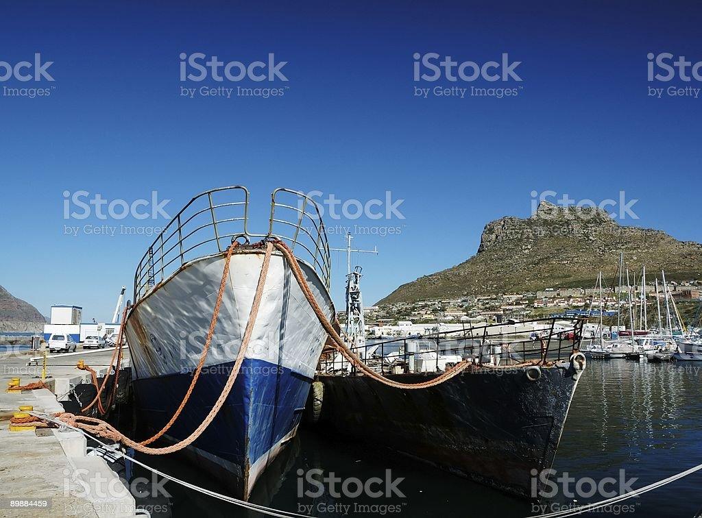 Fishing boat at anchor royalty-free stock photo