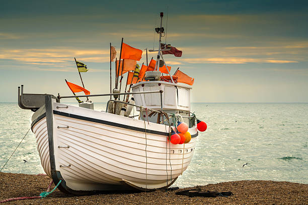fishing boat at dusk - east sussex stockfoto's en -beelden