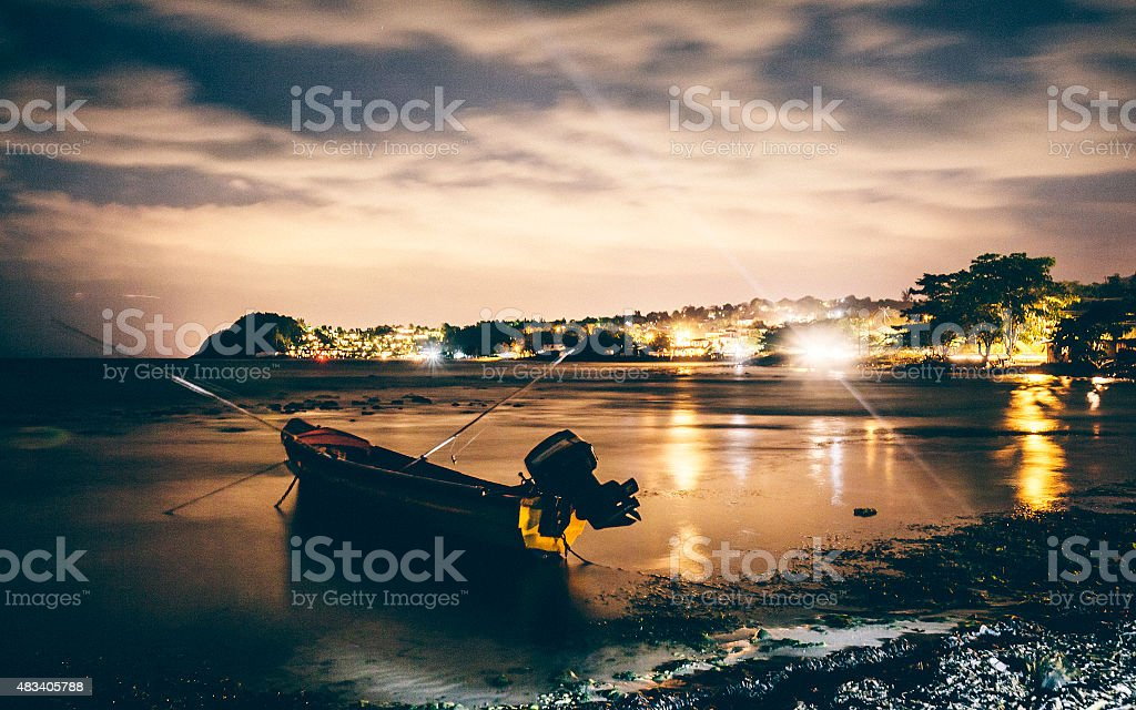 Fishing boat at Jamaican coast. stock photo