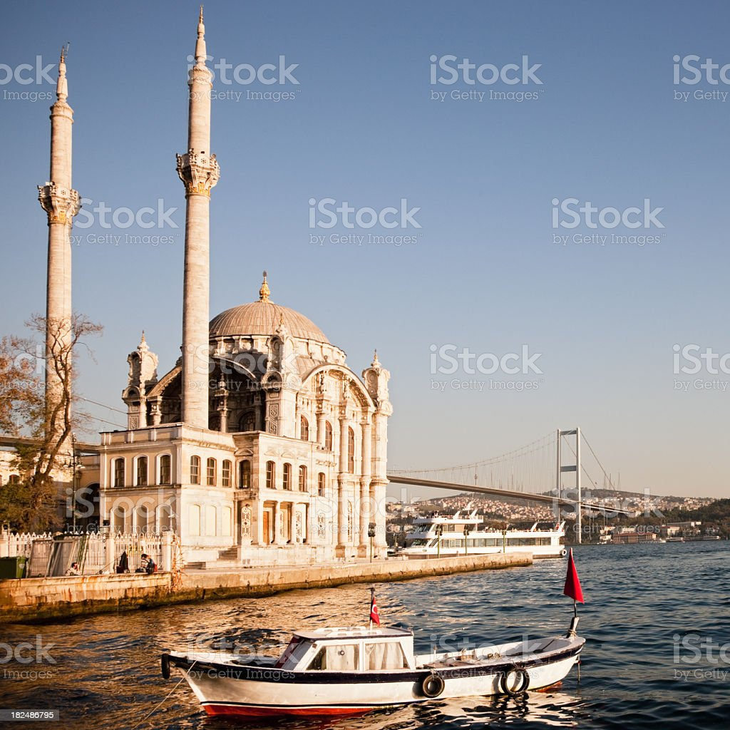 Fishing Boat at Ortakoy Mosque Istanbul stock photo