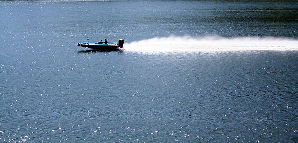 Fishing Boat at Speed stock photo