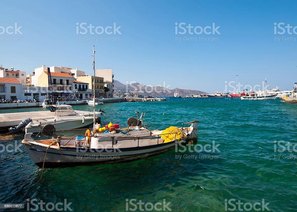 Fishing boat at the port of Creta stock photo