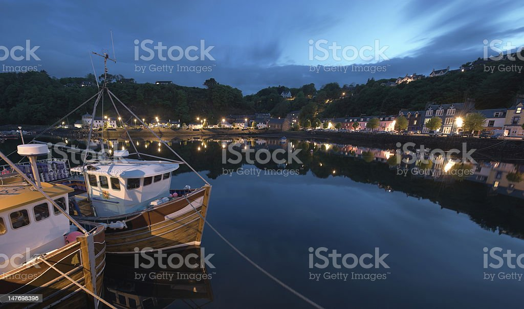 fishing boat at Tobermory Quai stock photo