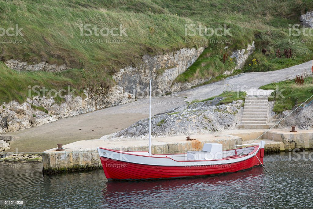 Fishing Boat, Ballintoy Harbour; County Antrim stock photo