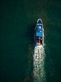 Fishing Boat From Above Drone View