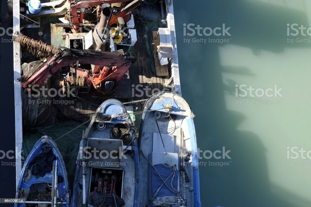 fishing boat from above royalty-free stock photo