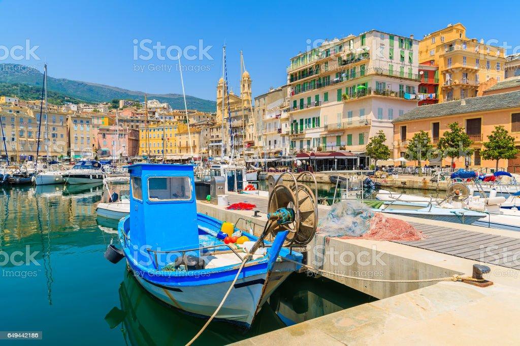 Fishing boat in Bastia port on sunny summer day, Corsica island, France stock photo